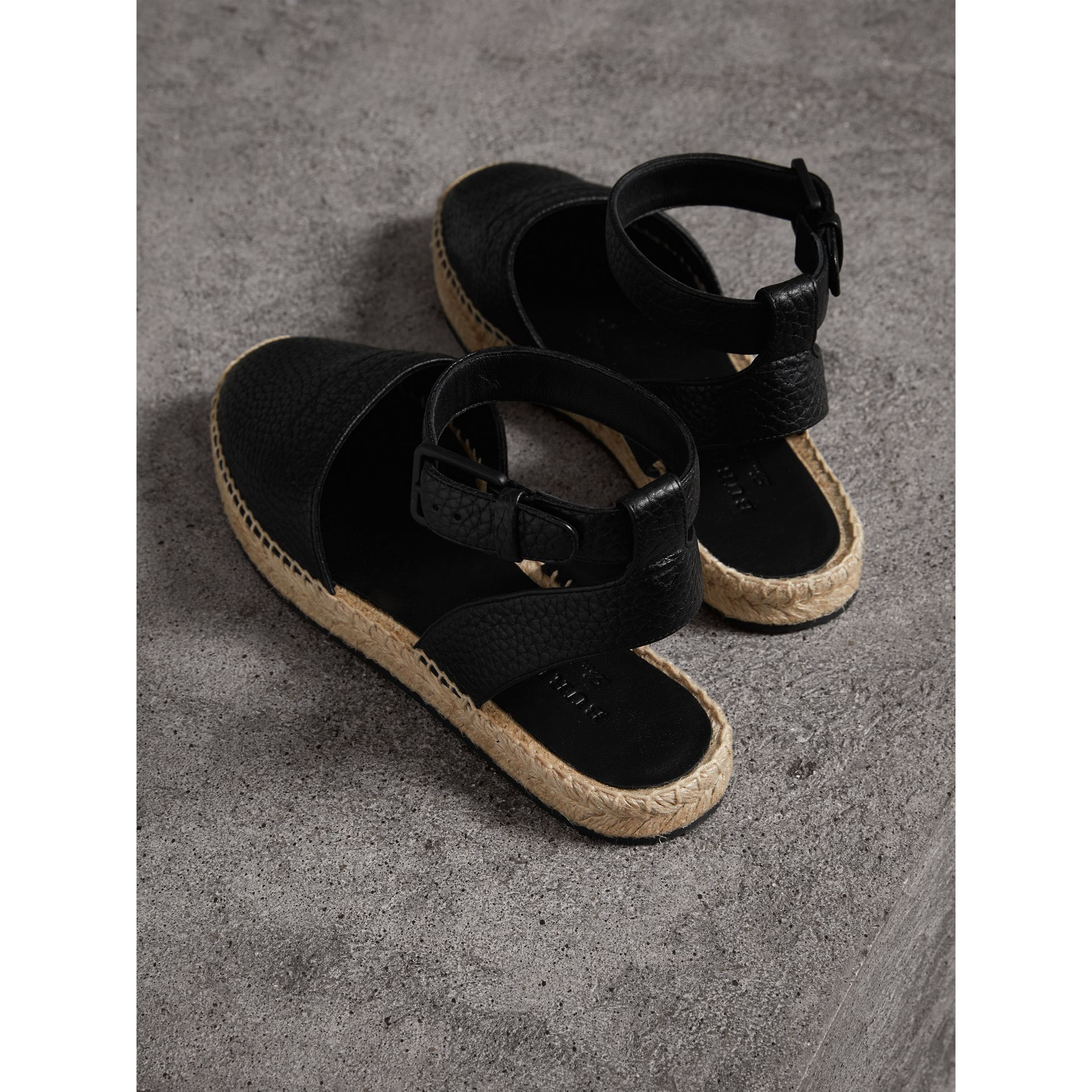 Embossed Grainy Leather Espadrille Sandals in Black - Women | Burberry United States - gallery image 2