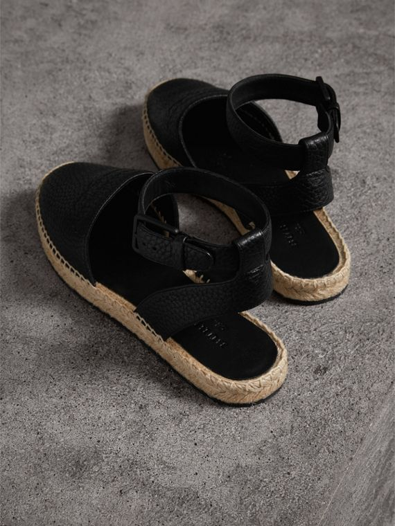 Embossed Grainy Leather Espadrille Sandals in Black - Women | Burberry United States - cell image 2