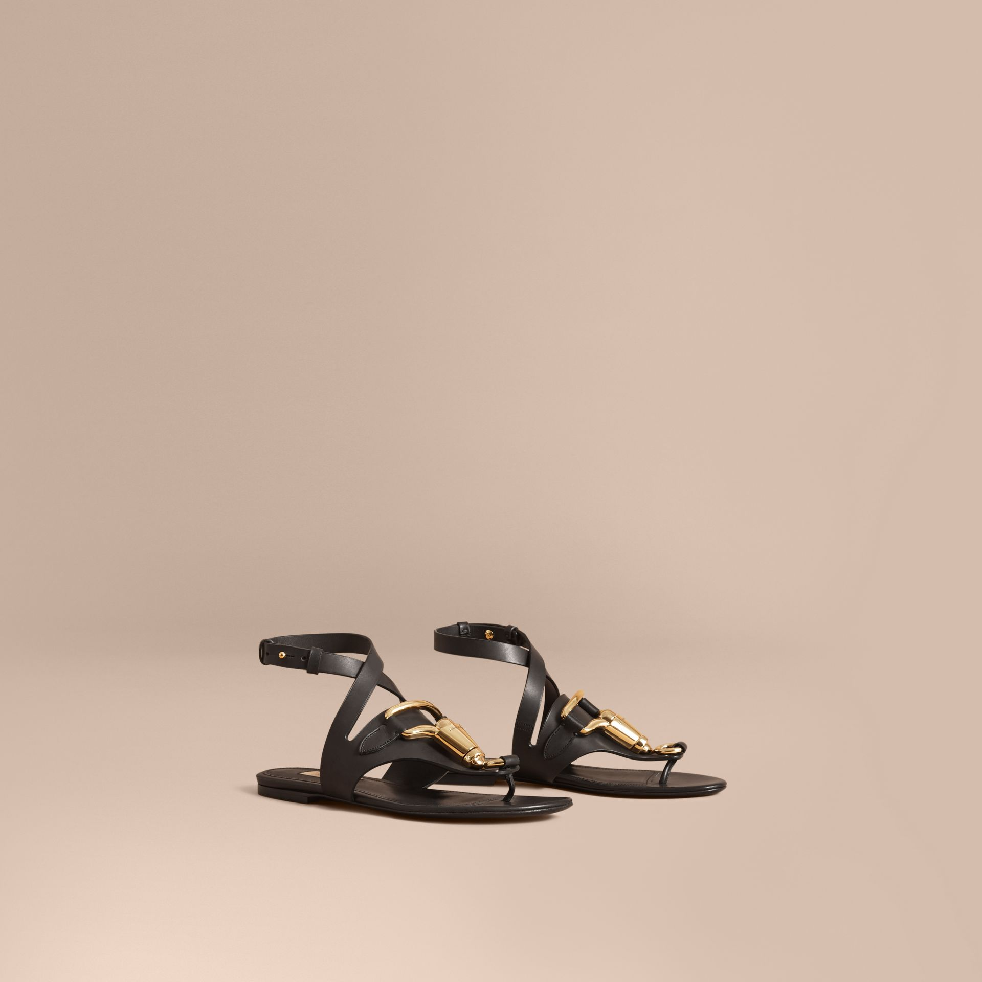 Equestrian Detail Leather Sandals - Women | Burberry - gallery image 1