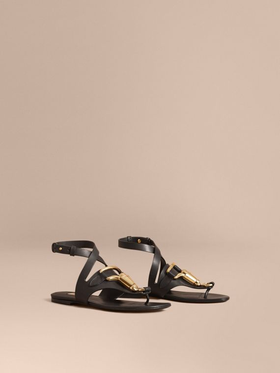 Equestrian Detail Leather Sandals