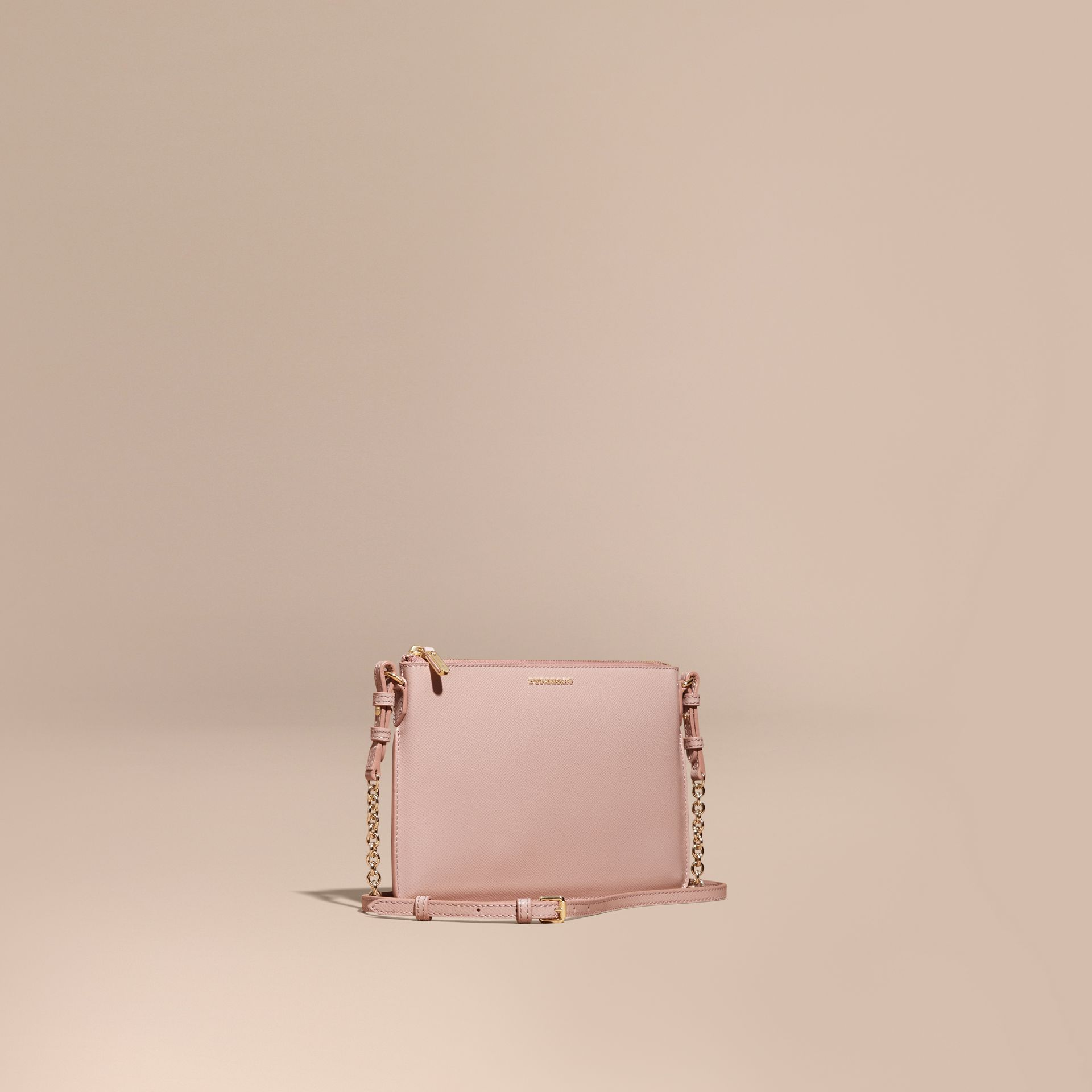 Patent London Leather Clutch Bag in Ash Rose - gallery image 1