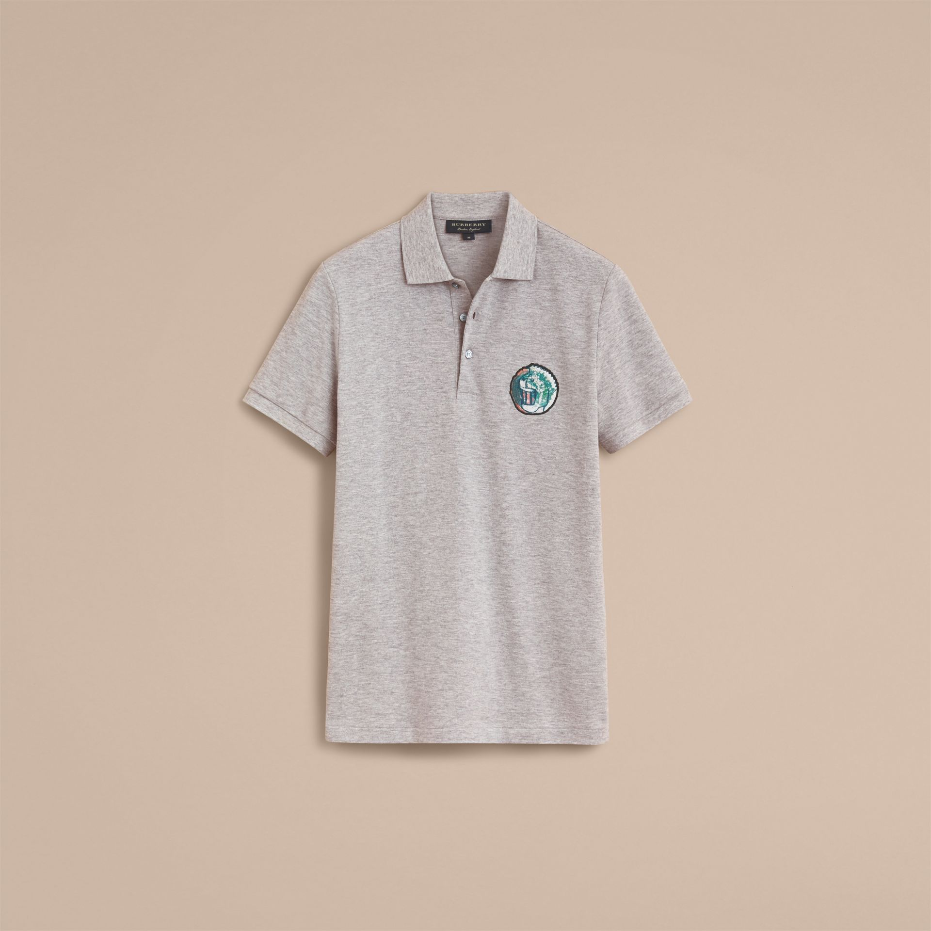 Pallas Heads Appliqué Cotton Polo Shirt in Pale Grey Melange - gallery image 4