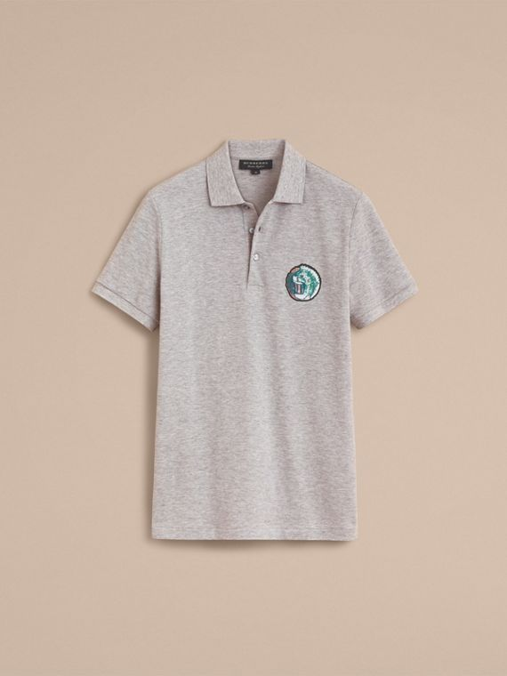 Pallas Heads Appliqué Cotton Polo Shirt in Pale Grey Melange - cell image 3