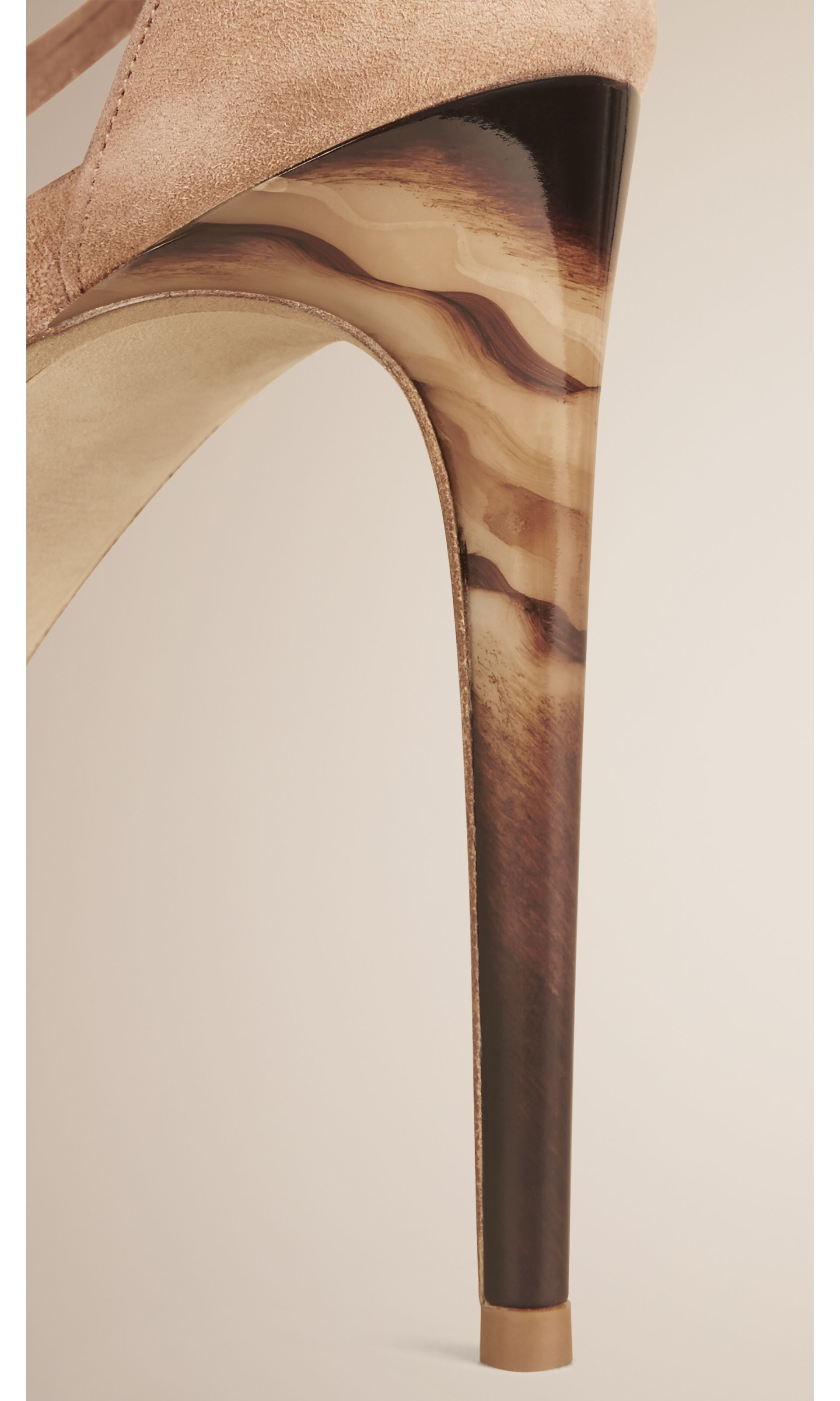 Multi-strap Suede Sandals in Honey - Women   Burberry United States - gallery image 3