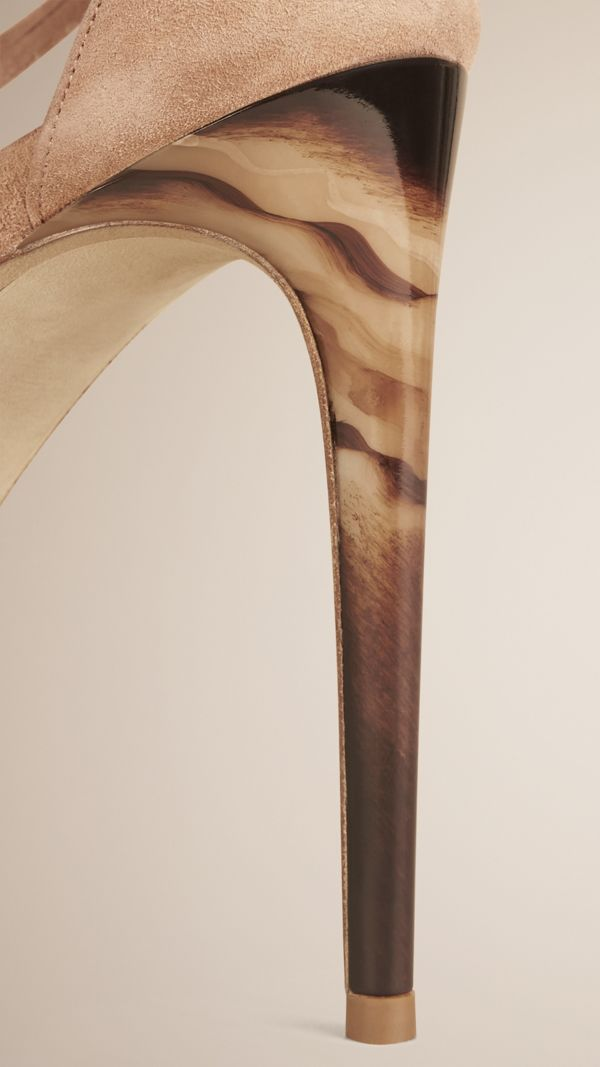 Multi-strap Suede Sandals in Honey - Women   Burberry United States - cell image 3