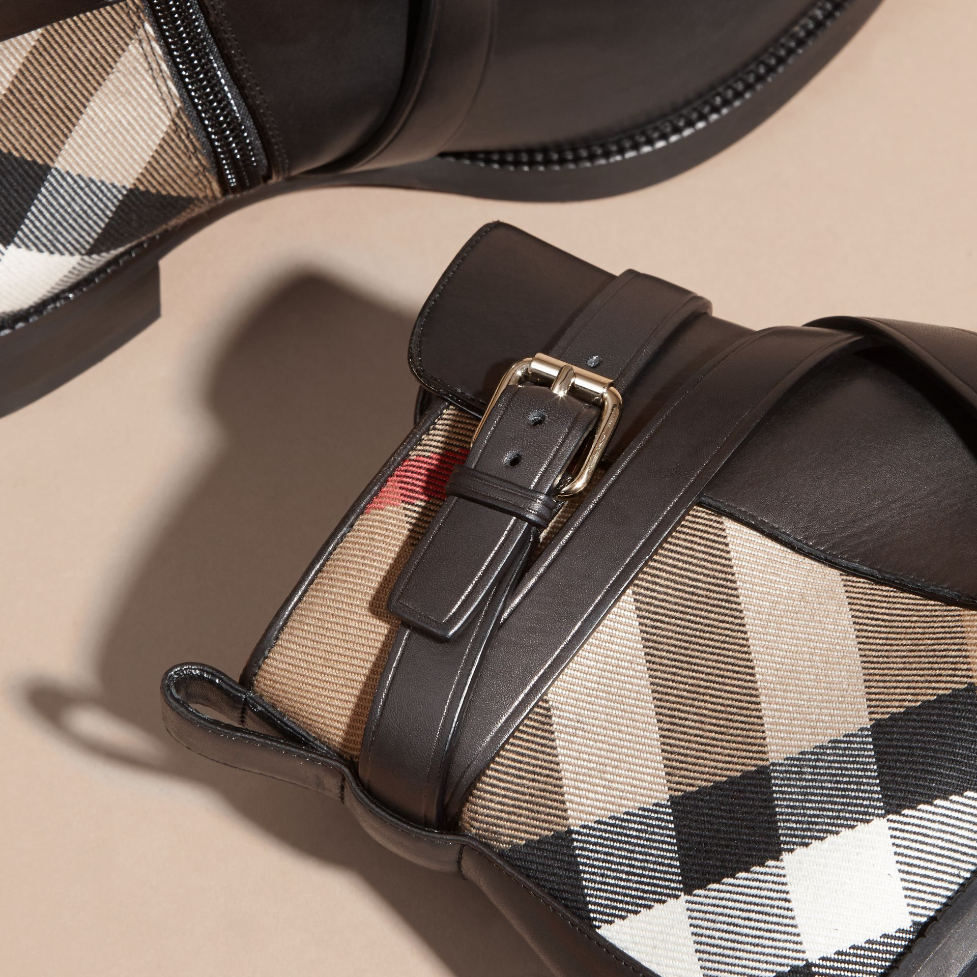 Strap Detail House Check and Leather Ankle Boots in Black - Women | Burberry - gallery image 5