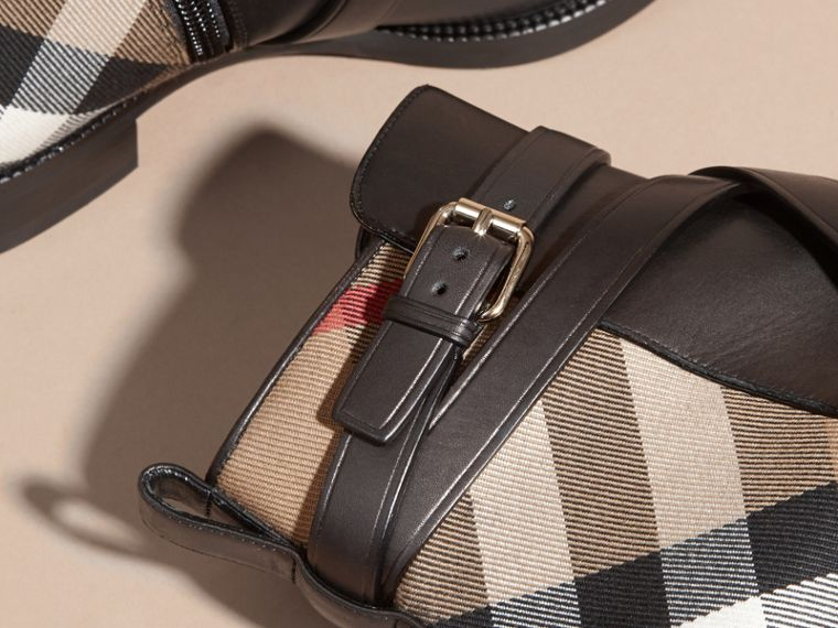 Strap Detail House Check and Leather Ankle Boots in Black - Women | Burberry - cell image 4