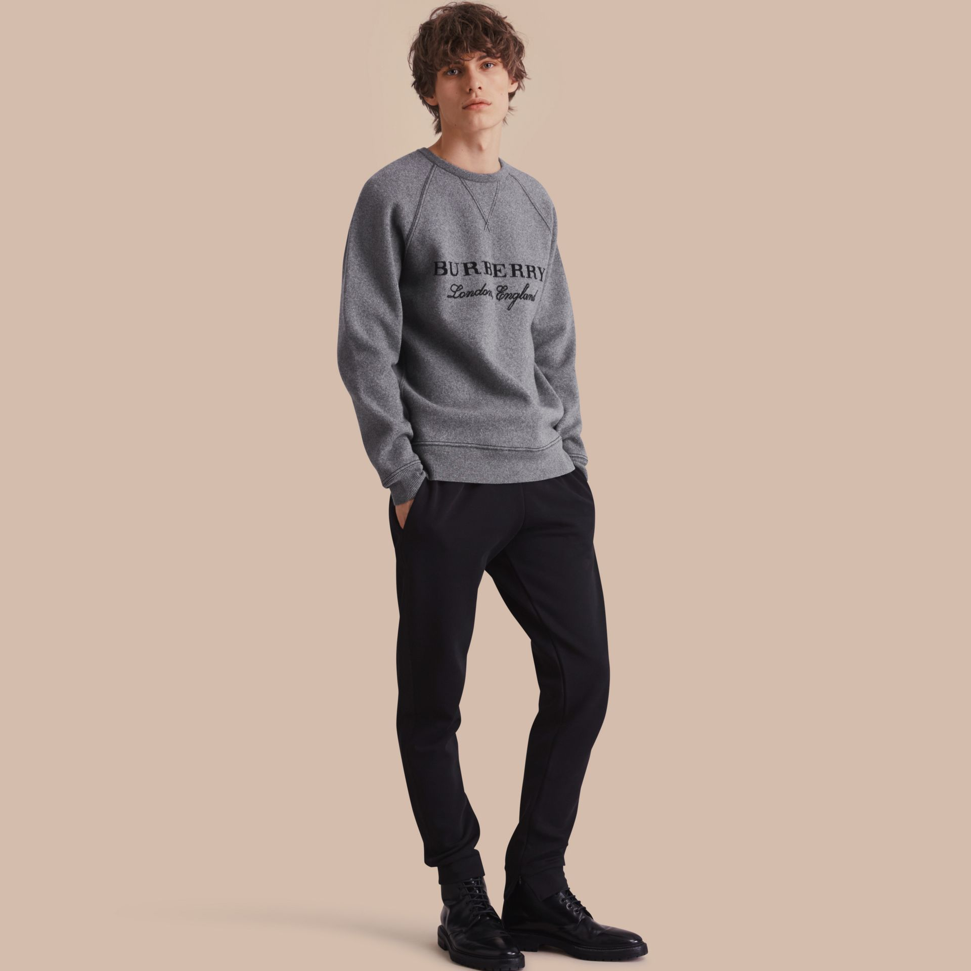 Cotton Blend Knit Sweat Pants - gallery image 1