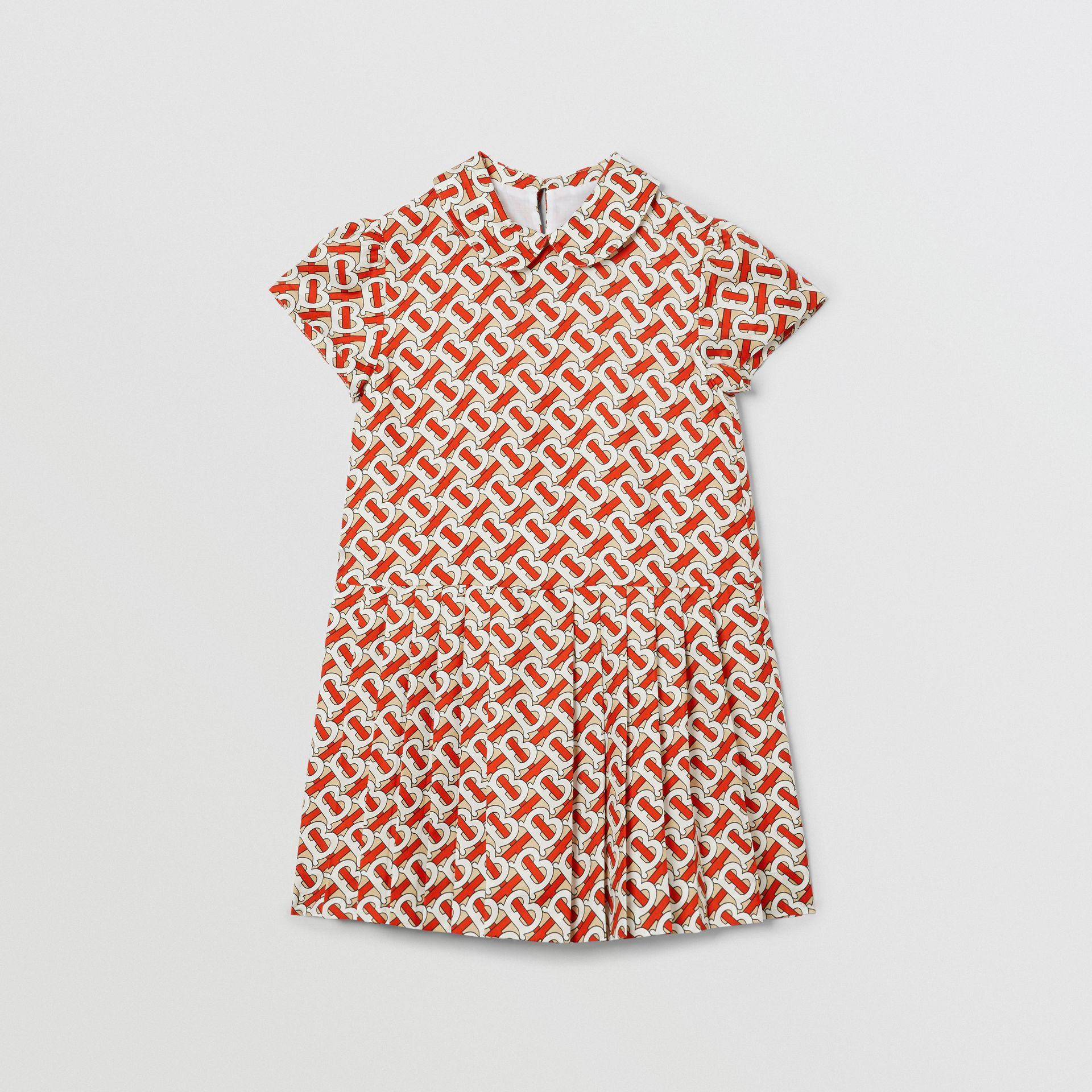 Peter Pan Collar Monogram Print Silk Dress in Vermilion Red | Burberry Hong Kong S.A.R - gallery image 0