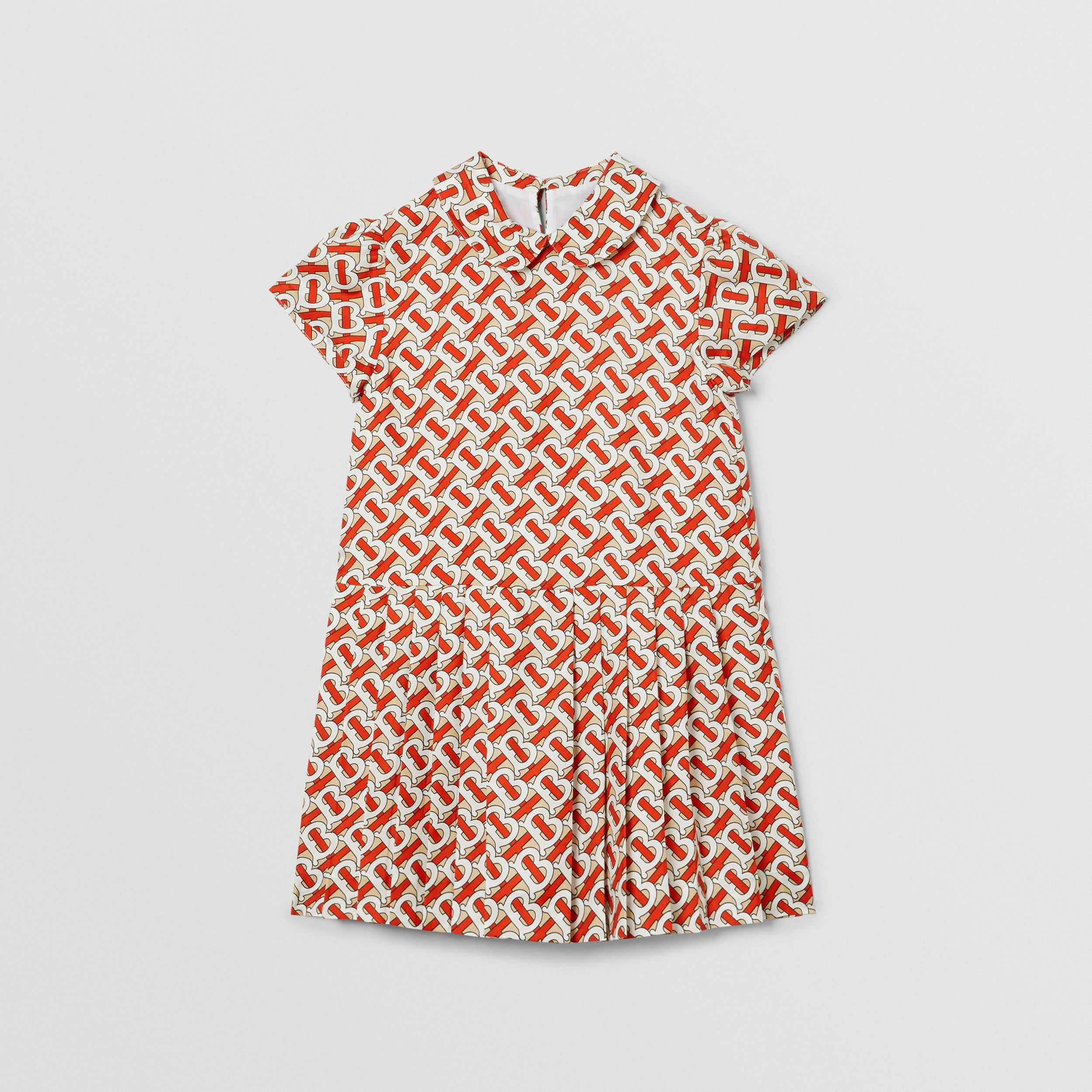 Peter Pan Collar Monogram Print Silk Dress in Vermilion Red | Burberry - 1