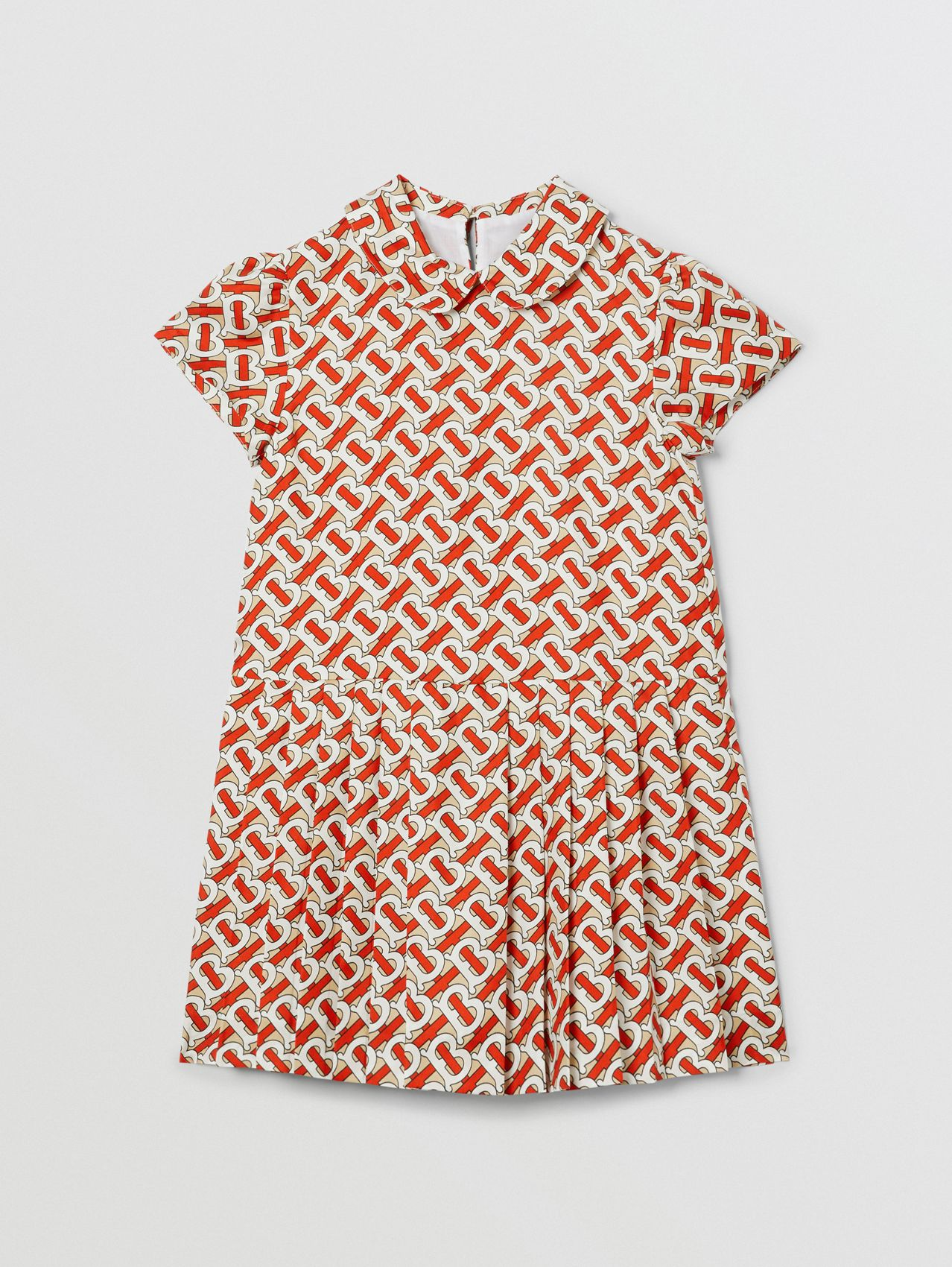 Peter Pan Collar Monogram Print Silk Dress (Vermilion Red)