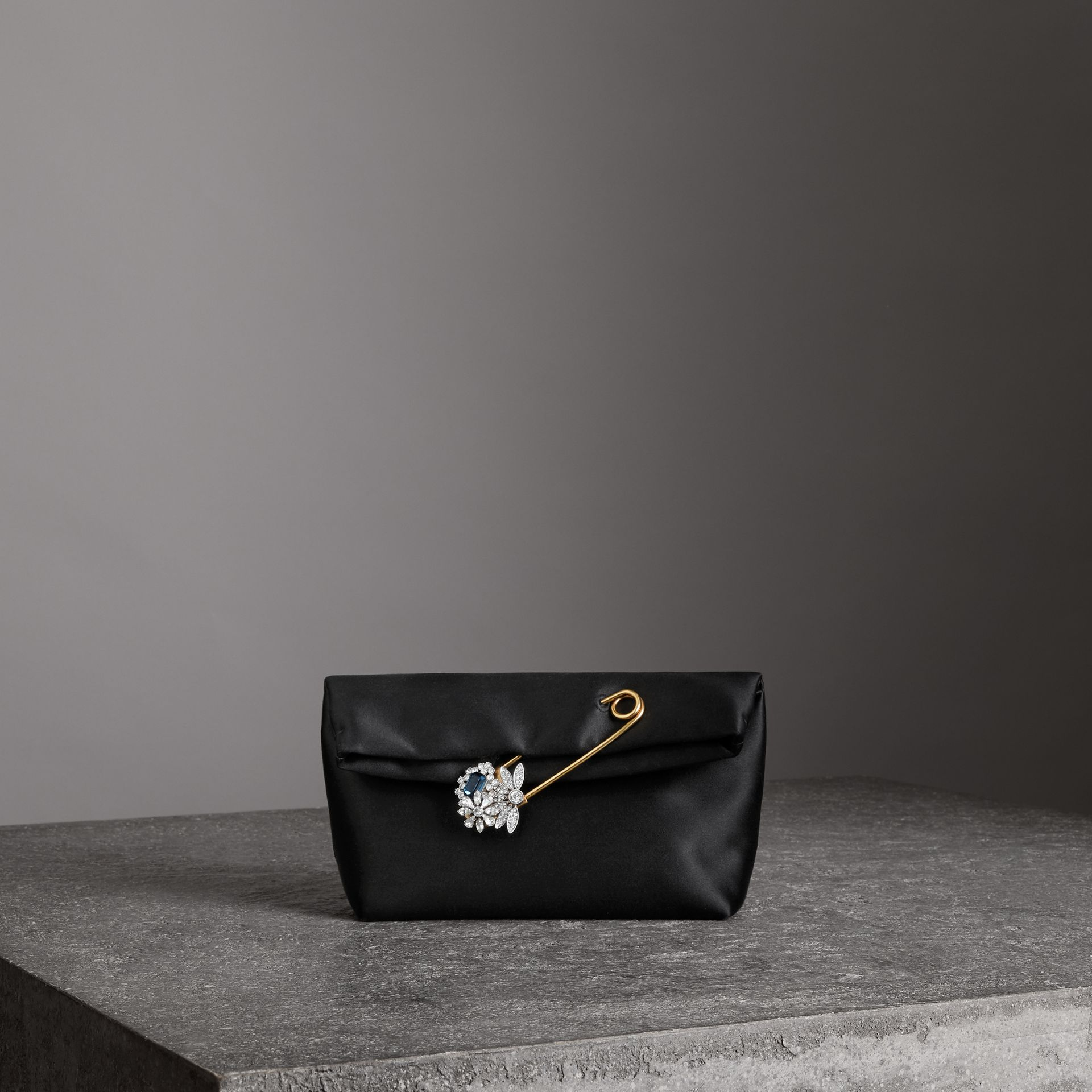 The Small Pin Clutch in Satin in Black - Women | Burberry - gallery image 0