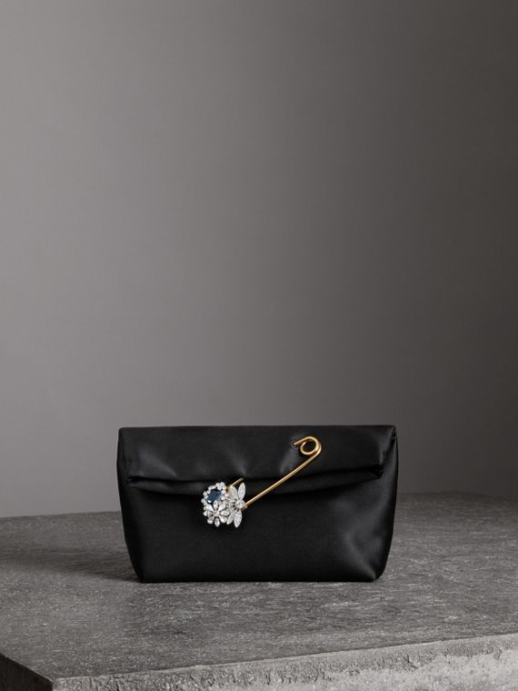 Pochette The Pin piccola in raso (Nero)