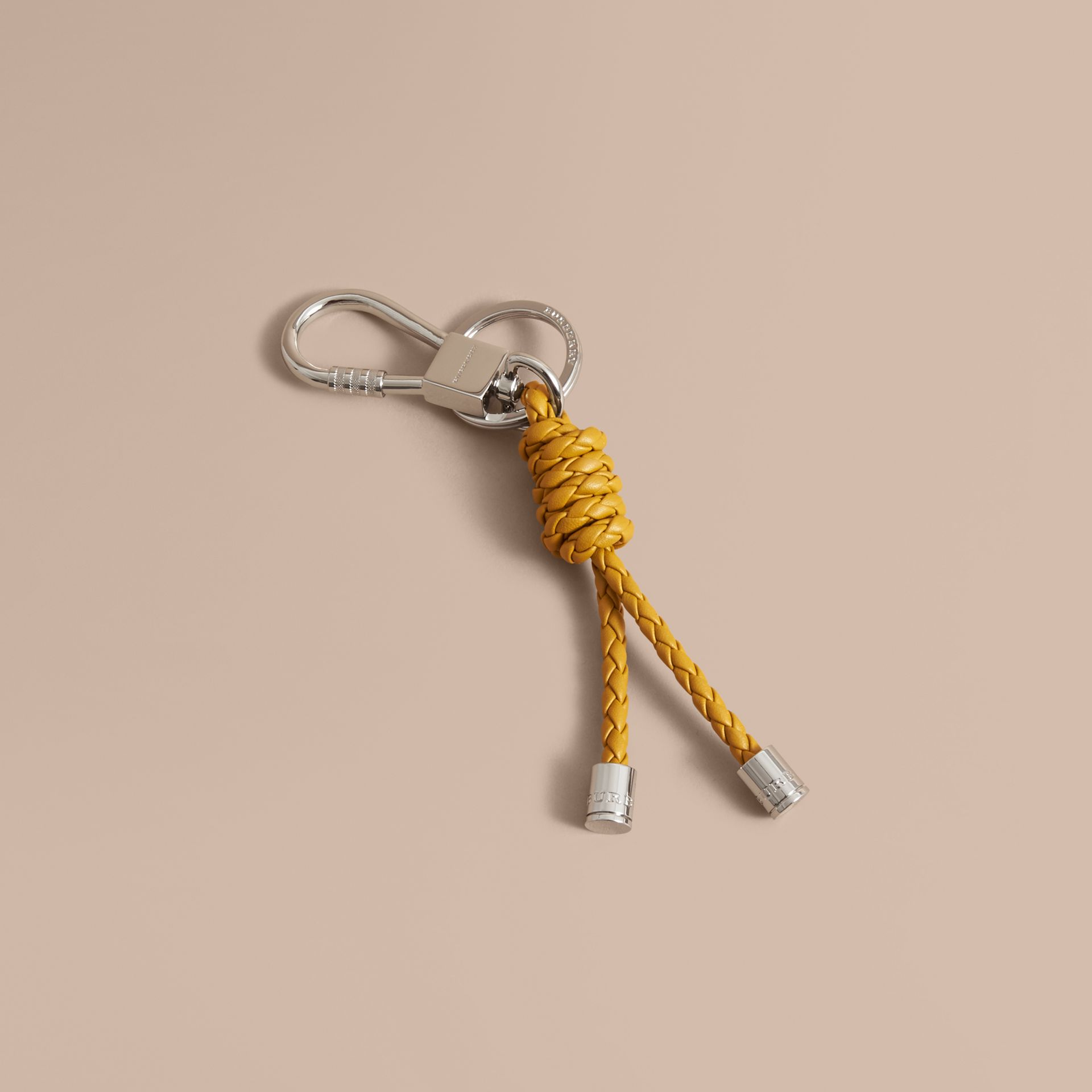Braided Leather Knot Key Ring in Bright Citrus - Men | Burberry - gallery image 1