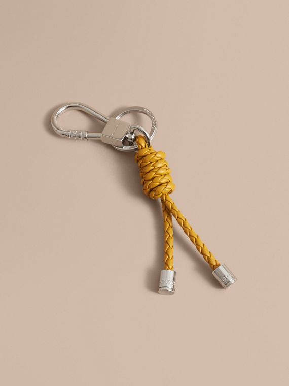 Braided Leather Knot Key Ring in Bright Citrus