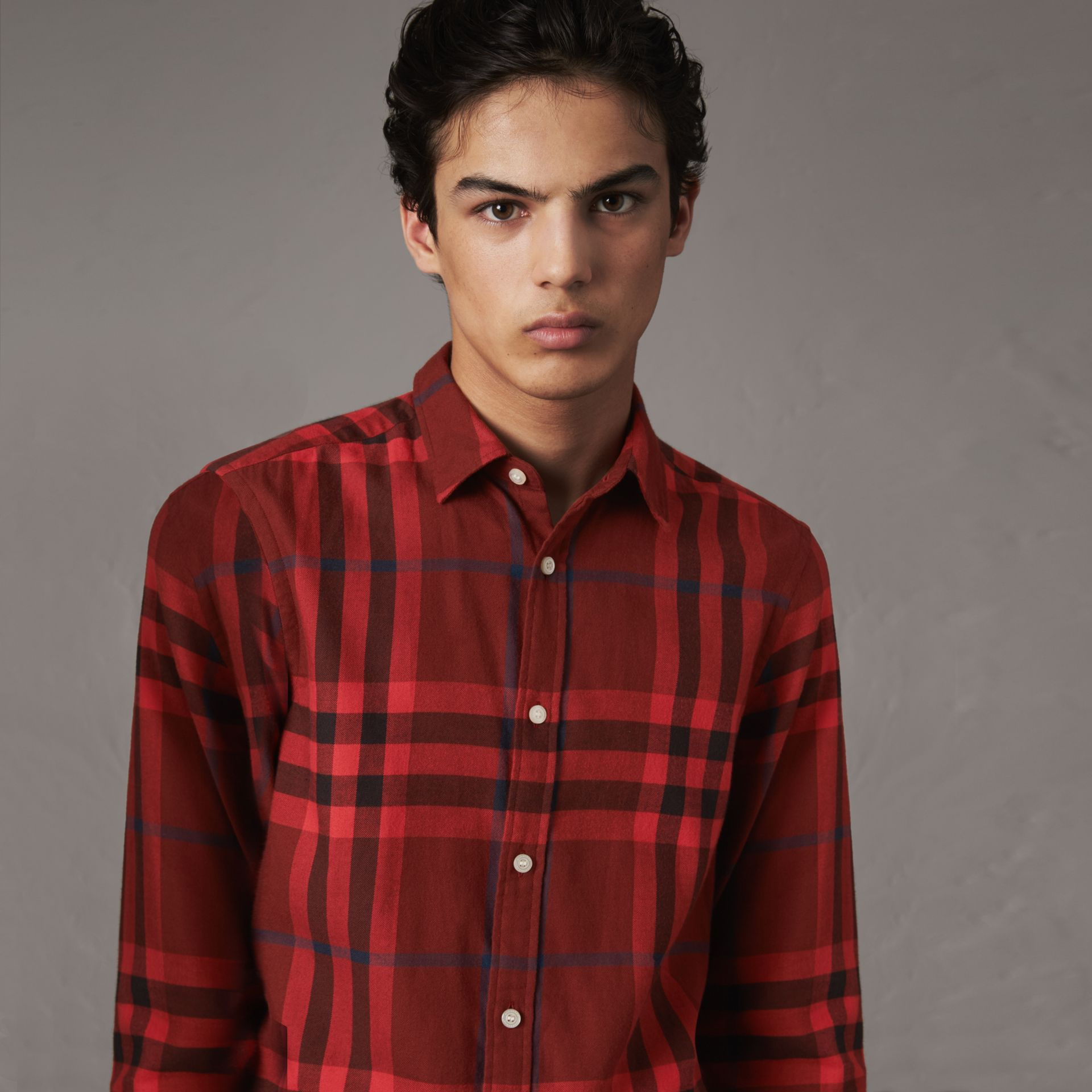 Check Cotton Flannel Shirt in Mahogany Red - Men | Burberry United Kingdom - gallery image 0