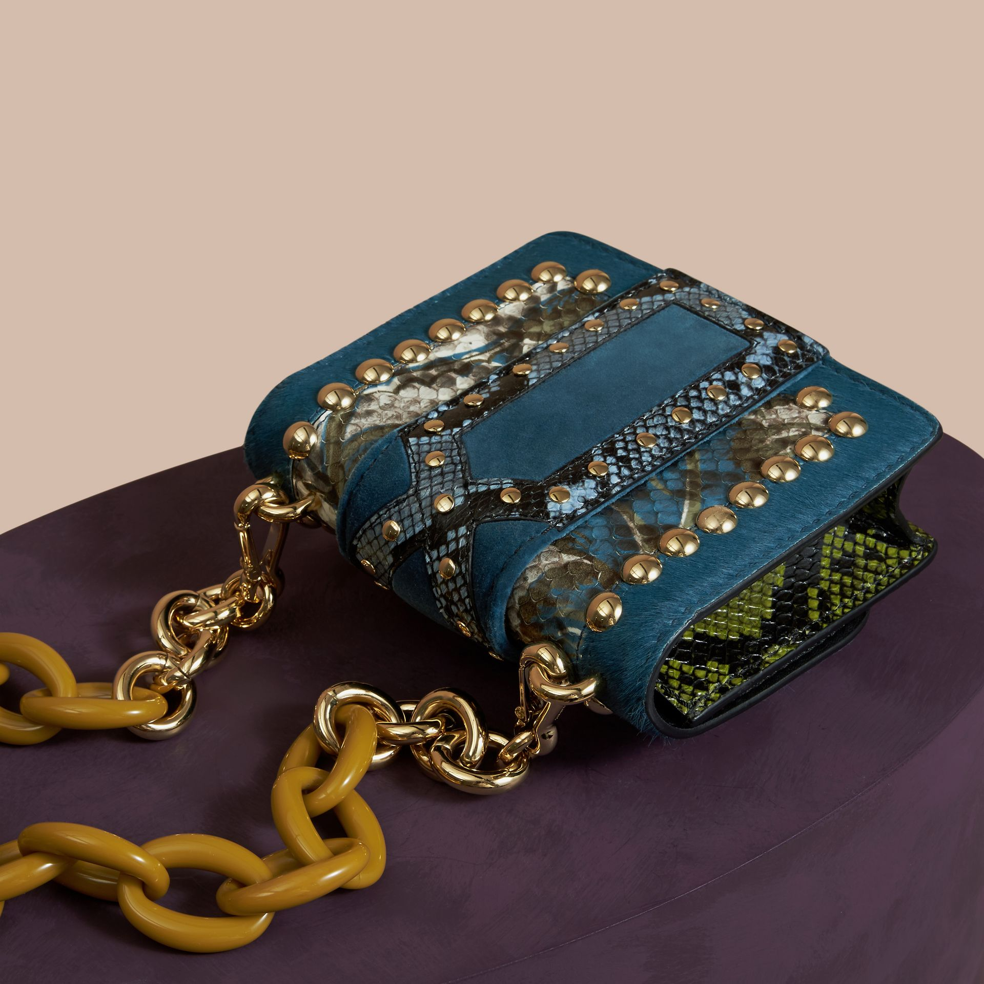 The Mini Square Buckle Bag in Calfskin, Snakeskin and Velvet in Pale Opal - gallery image 4