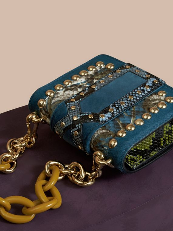 The Mini Square Buckle Bag in Calfskin, Snakeskin and Velvet Pale Opal - cell image 3