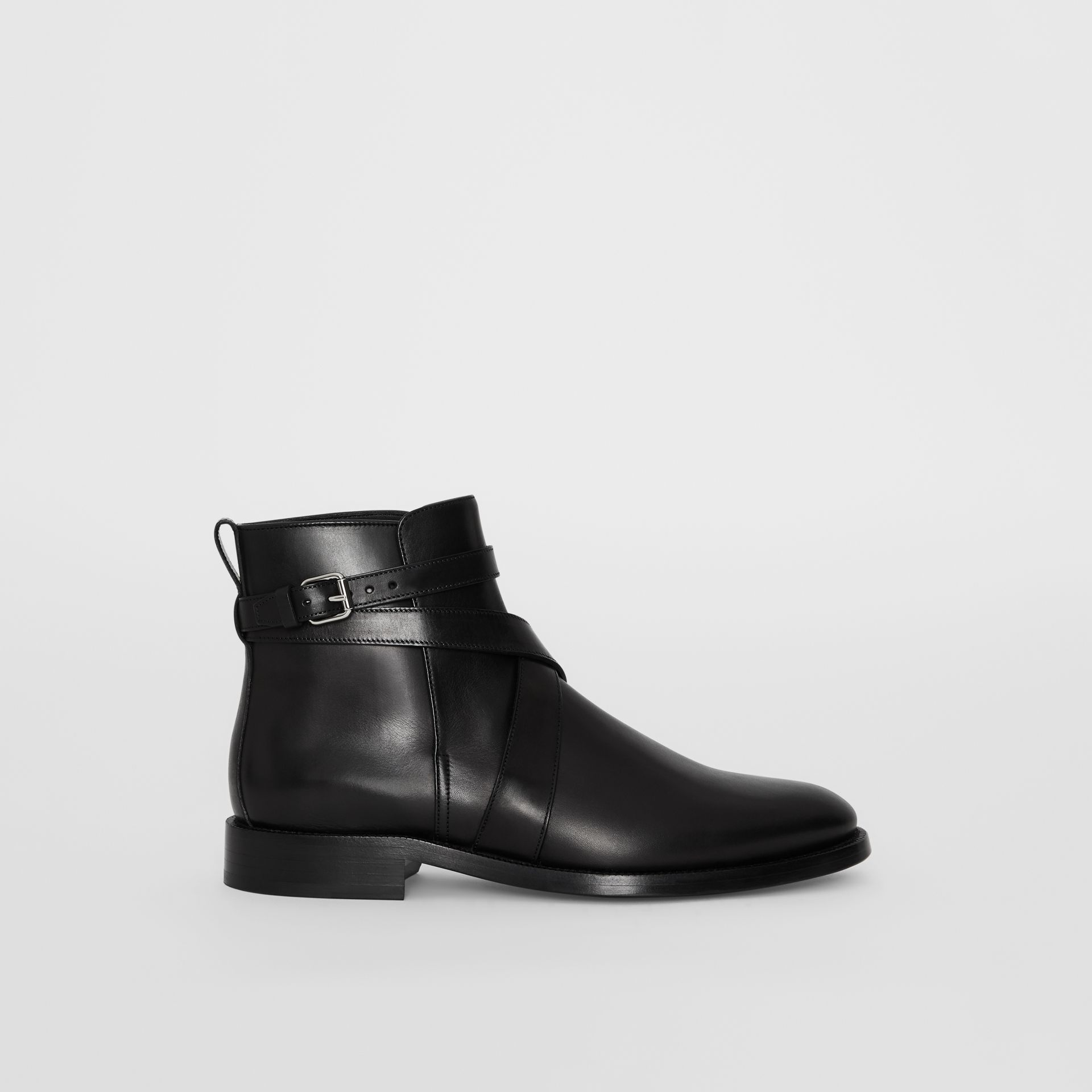 Strap Detail Leather Ankle Boots in Black - Men | Burberry - gallery image 5