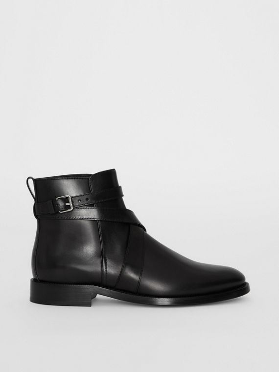 Strap Detail Leather Ankle Boots in Black