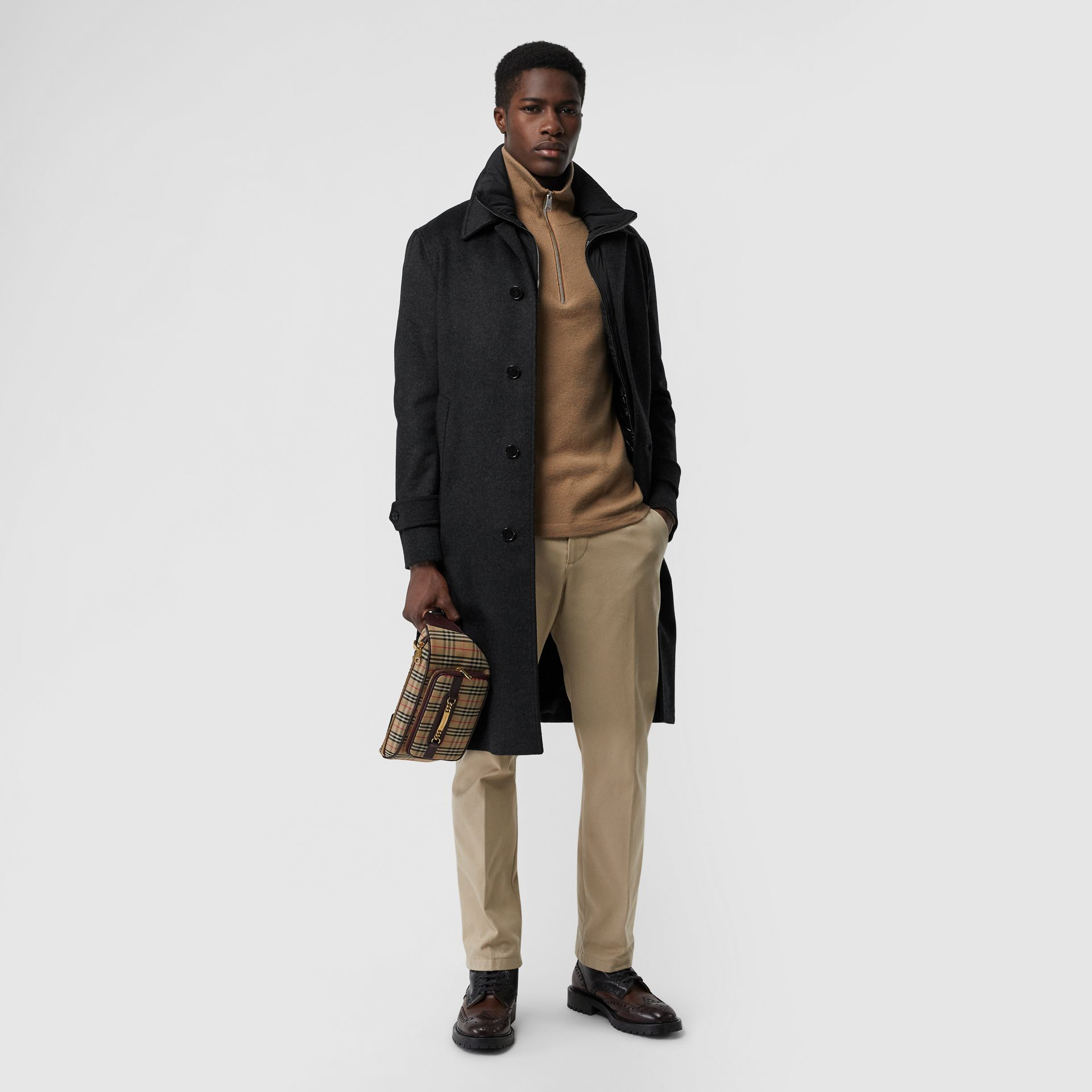Wool Cashmere Car Coat with Detachable Gilet in Dark Grey Melange - Men | Burberry - gallery image 0