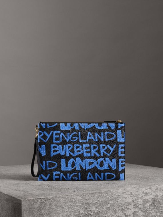 Graffiti Print Leather Zip Pouch in Blue/black