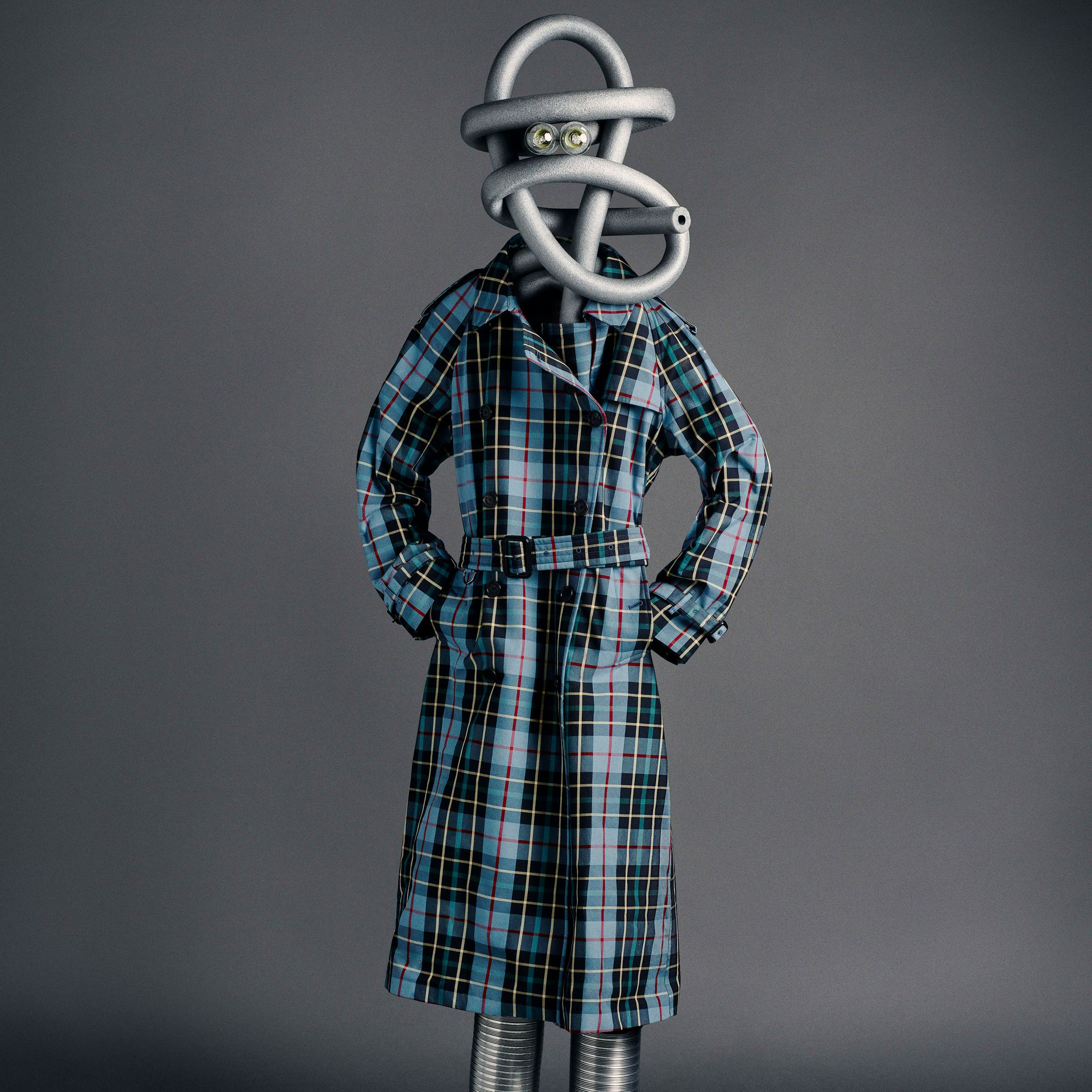 Tartan Cotton Gabardine Trench Coat in Cyan Blue - Women | Burberry - gallery image 7
