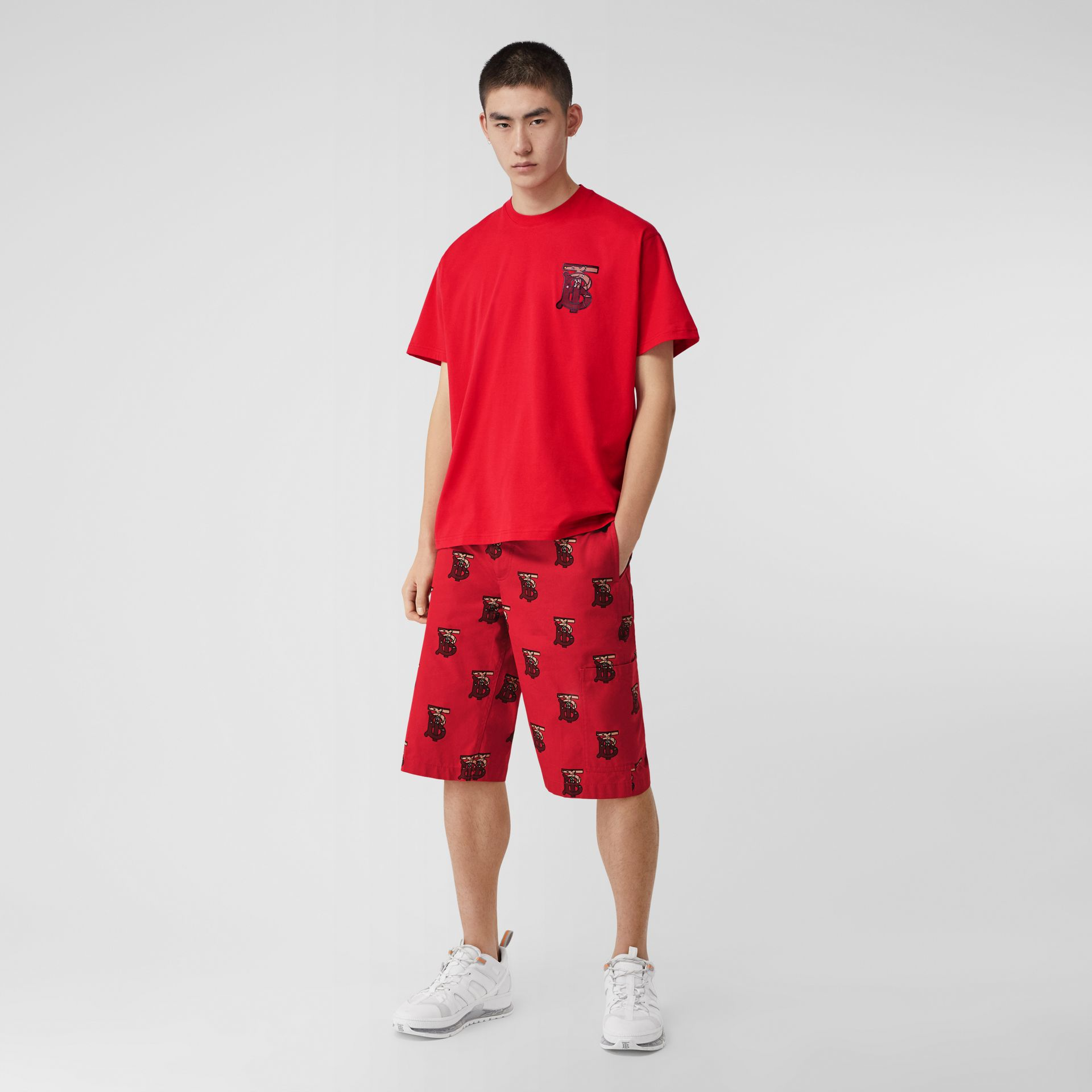 Monogram Motif Cotton Oversized T-shirt in Racing Red - Men | Burberry United Kingdom - gallery image 0