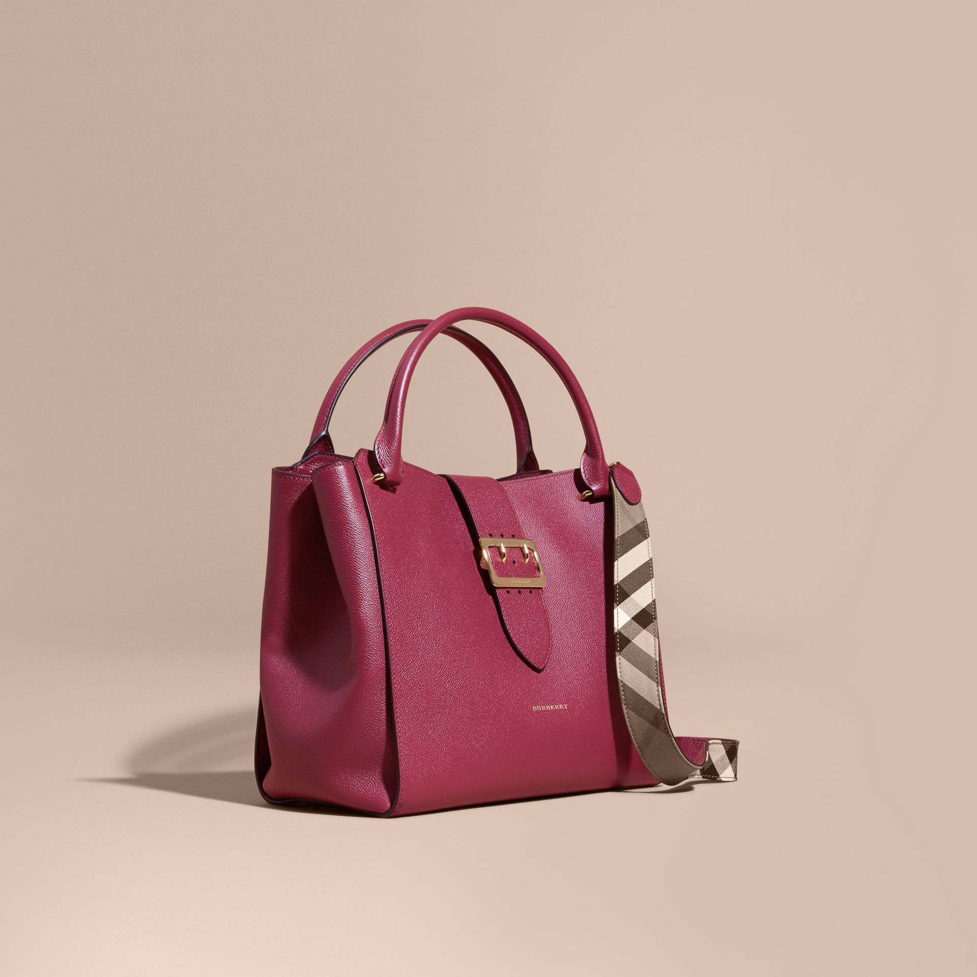 The Large Buckle Tote in Grainy Leather Dark Plum - gallery image 1