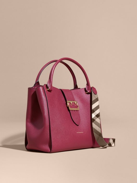 The Large Buckle Tote in Grainy Leather Dark Plum