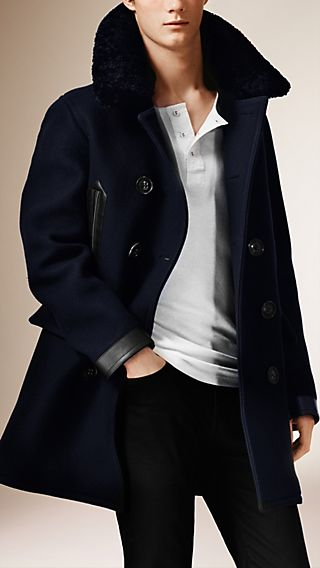Shearling Collar Wool Blend Pea Coat