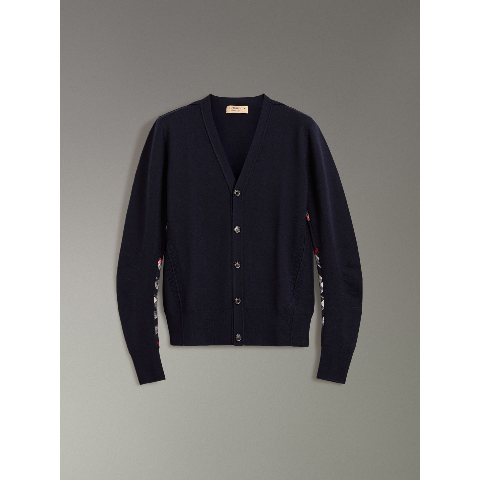 Check Detail Merino Wool Cardigan in Navy - Men | Burberry - gallery image 3