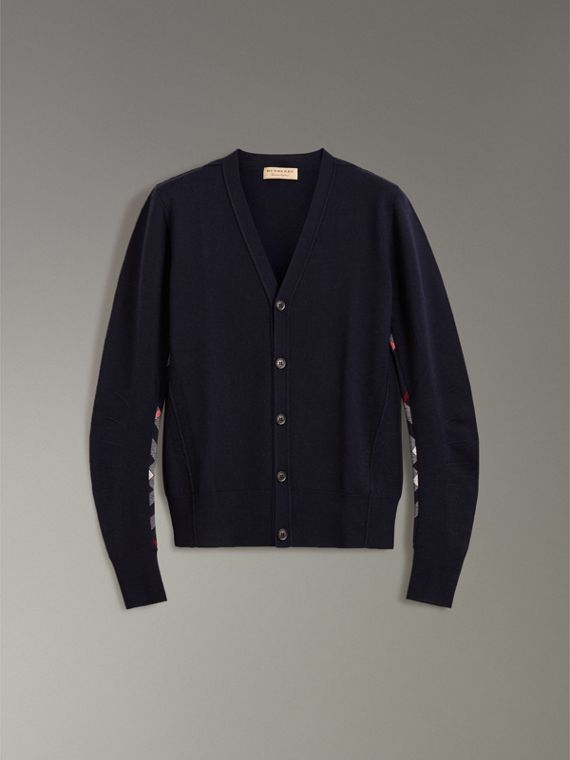 Check Detail Merino Wool Cardigan in Navy - Men | Burberry - cell image 3