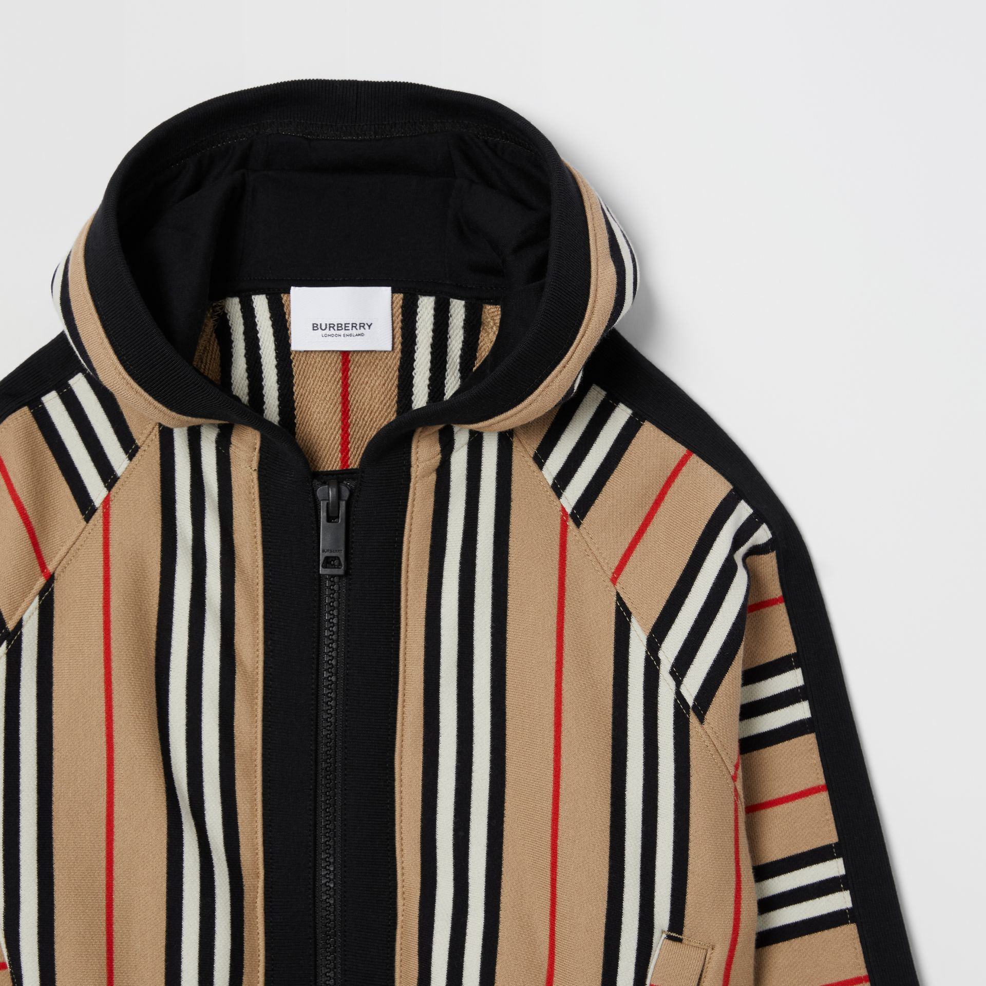 Icon Stripe Cotton Hooded Top in Archive Beige | Burberry Singapore - gallery image 4