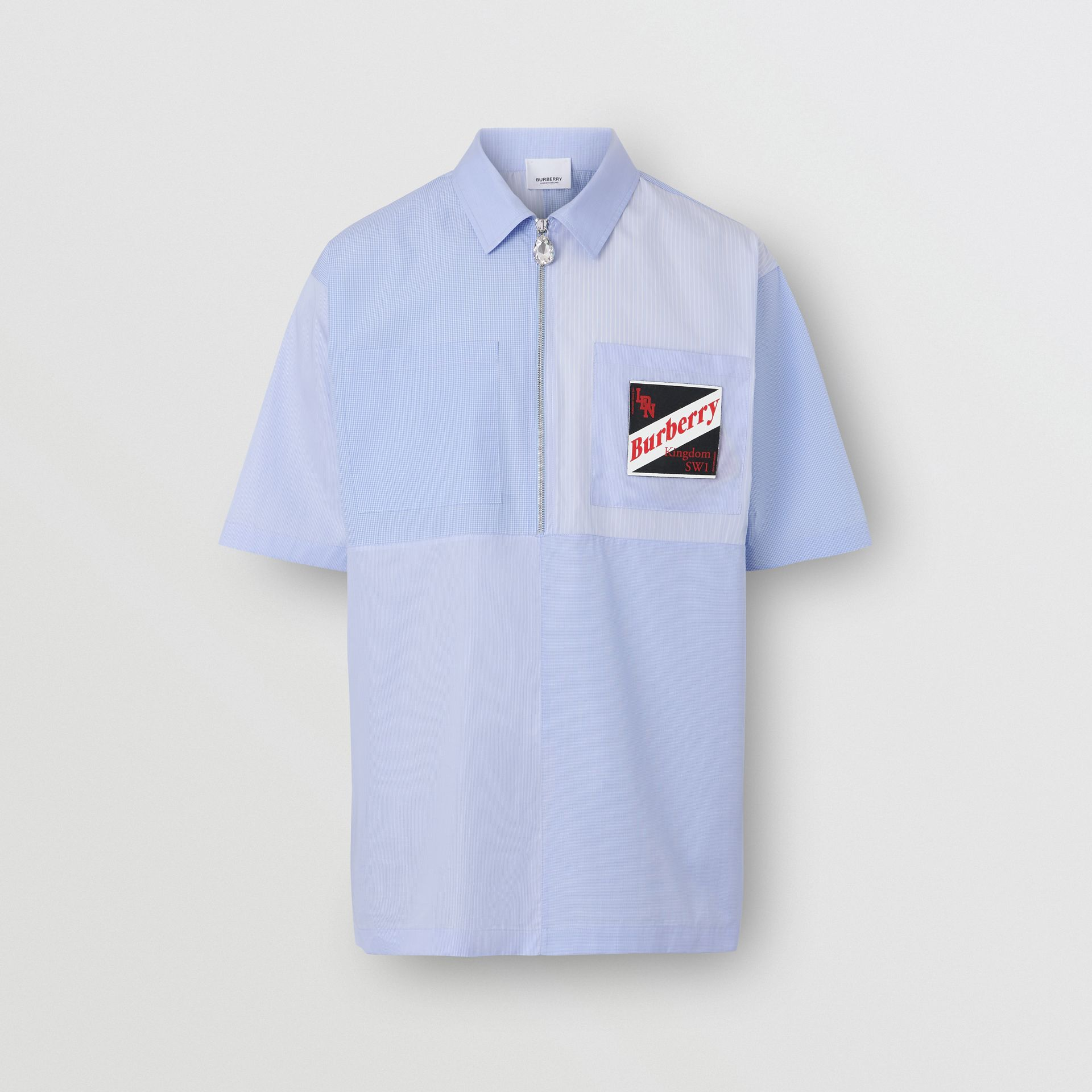 Short-sleeve Logo Graphic Patchwork Cotton Shirt in Pale Blue - Men | Burberry - gallery image 3