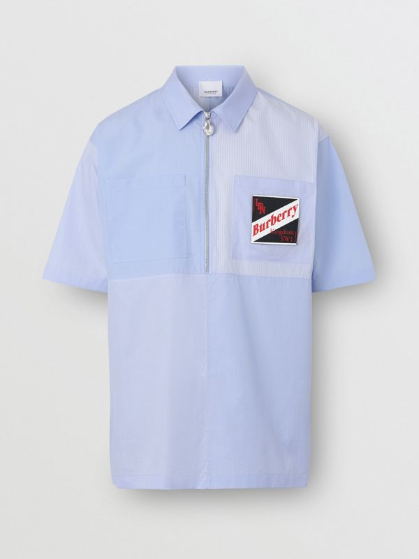 Short-sleeve Logo Graphic Patchwork Cotton Shirt in Pale Blue - Men | Burberry Hong Kong S.A.R - cell image 3
