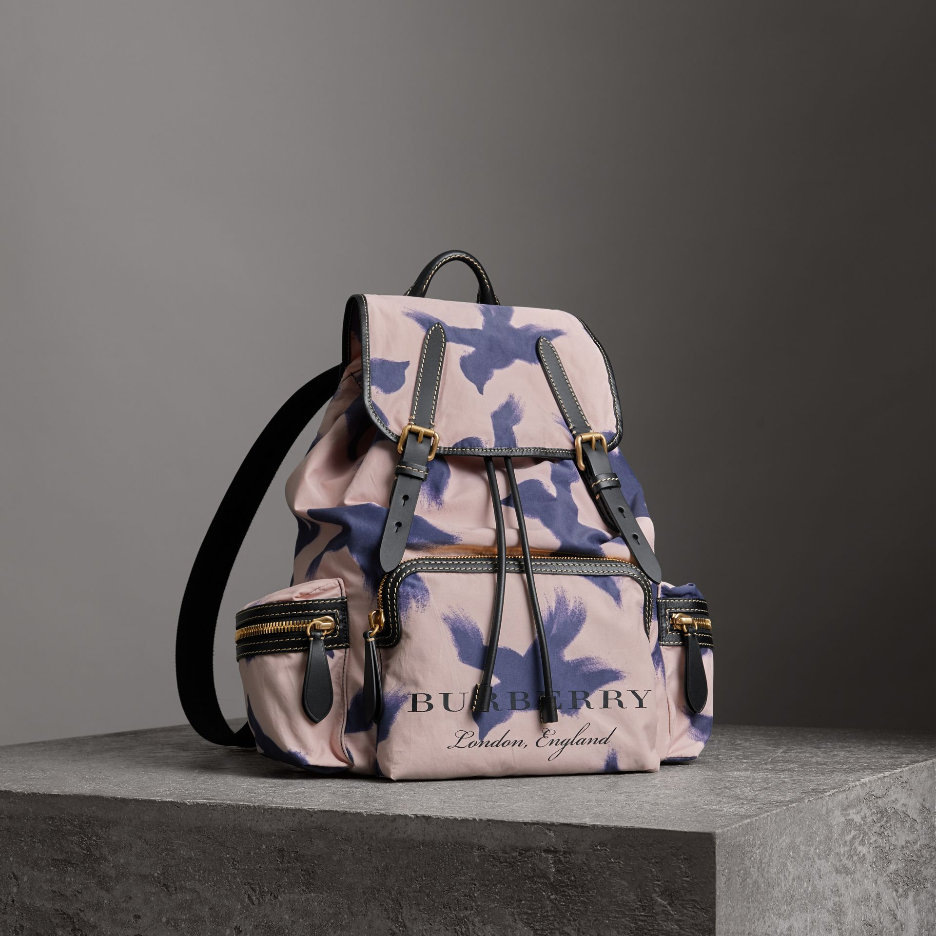 The Large Rucksack in Bird Print Canvas and Leather in Multicolour - Men | Burberry United States - gallery image 0