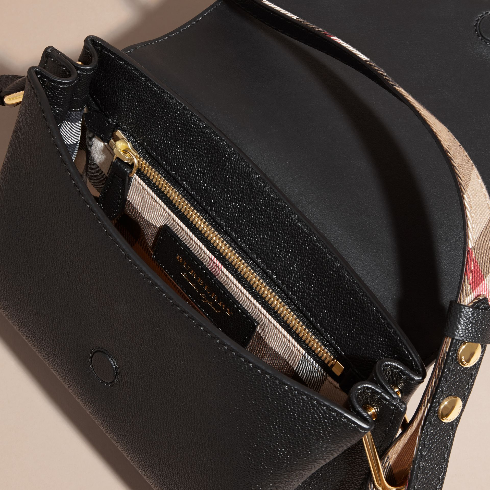 The Buckle Crossbody Bag in Leather Black - gallery image 4