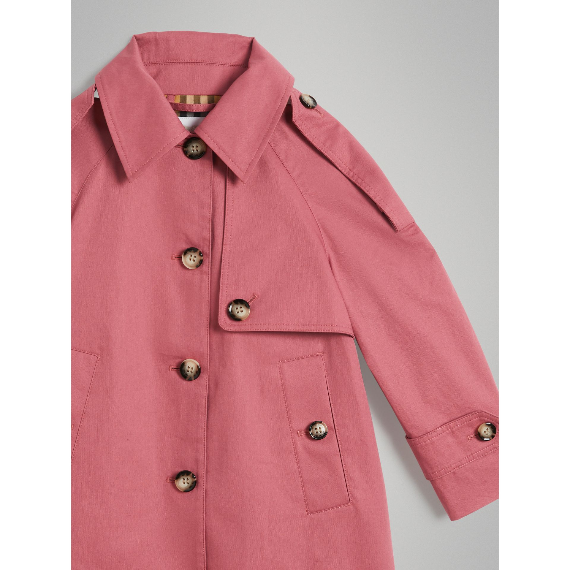 Showerproof Cotton Reconstructed Trench Coat in Rose Pink - Girl | Burberry Australia - gallery image 4
