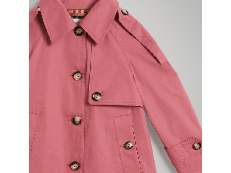 Showerproof Cotton Reconstructed Trench Coat in Rose Pink - Girl | Burberry - cell image 4