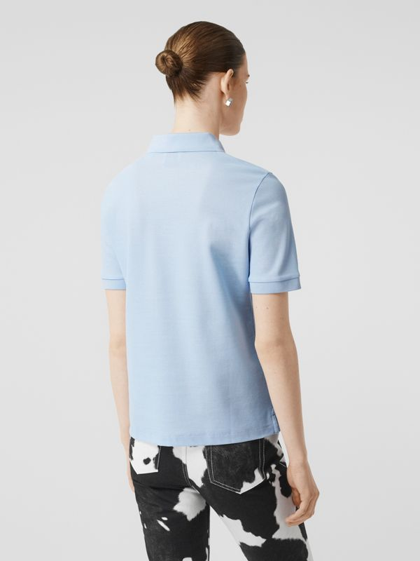 Monogram Motif Cotton Piqué Polo Shirt in Pale Blue - Women | Burberry United Kingdom - cell image 2