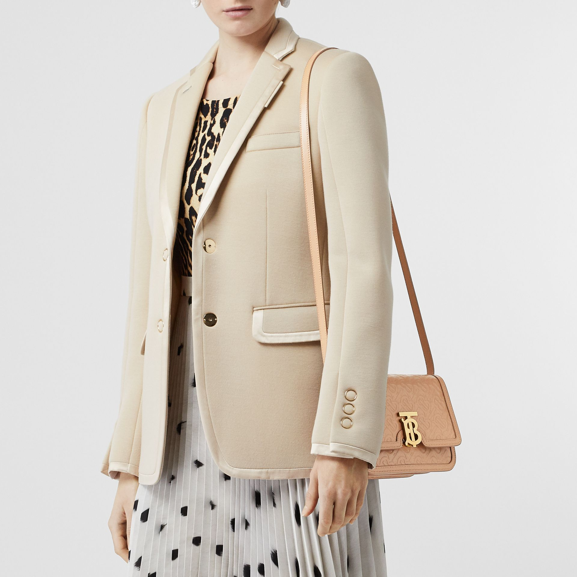 Small Monogram Leather TB Bag in Light Camel - Women | Burberry - gallery image 2