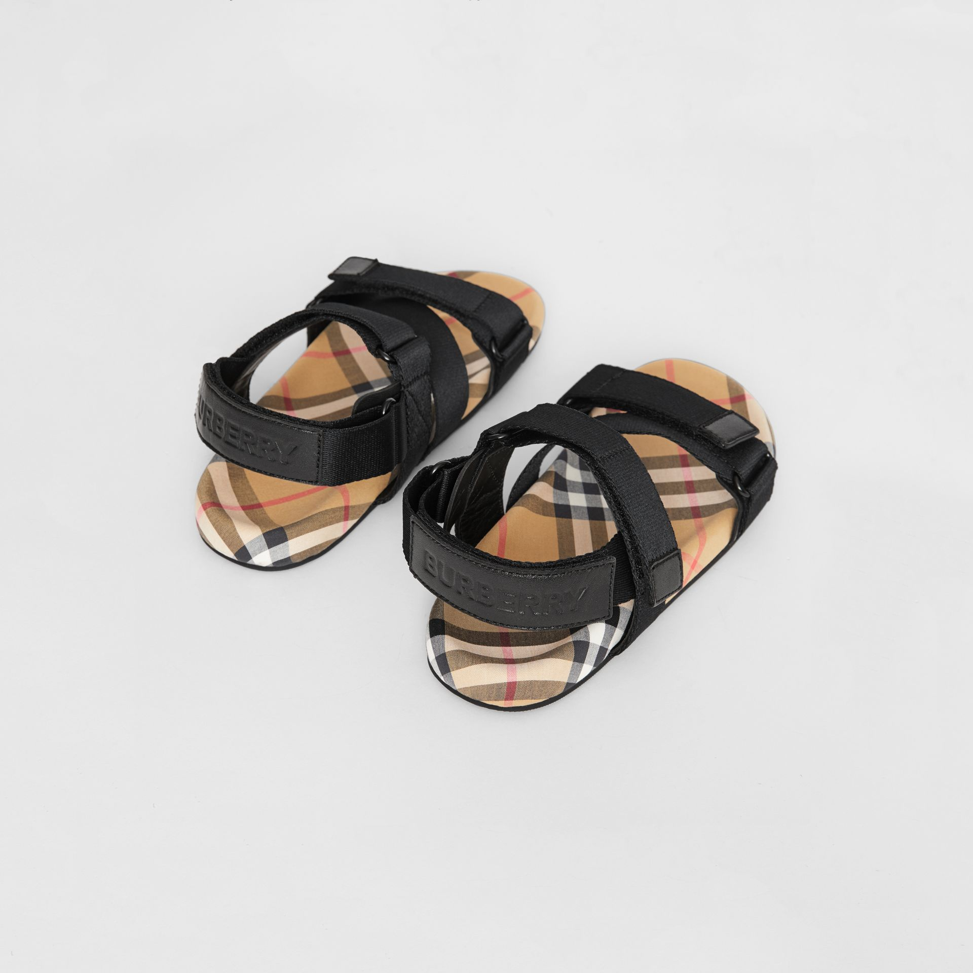 Ripstop Strap Vintage Check Cotton Sandals in Black/antique Yellow - Children | Burberry United Kingdom - gallery image 2
