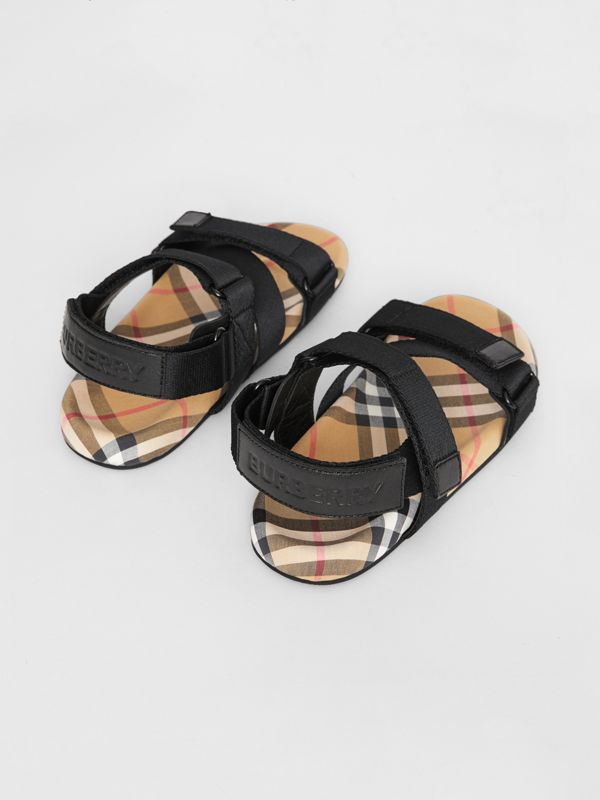 Ripstop Strap Vintage Check Cotton Sandals in Black/antique Yellow - Children | Burberry Australia - cell image 2
