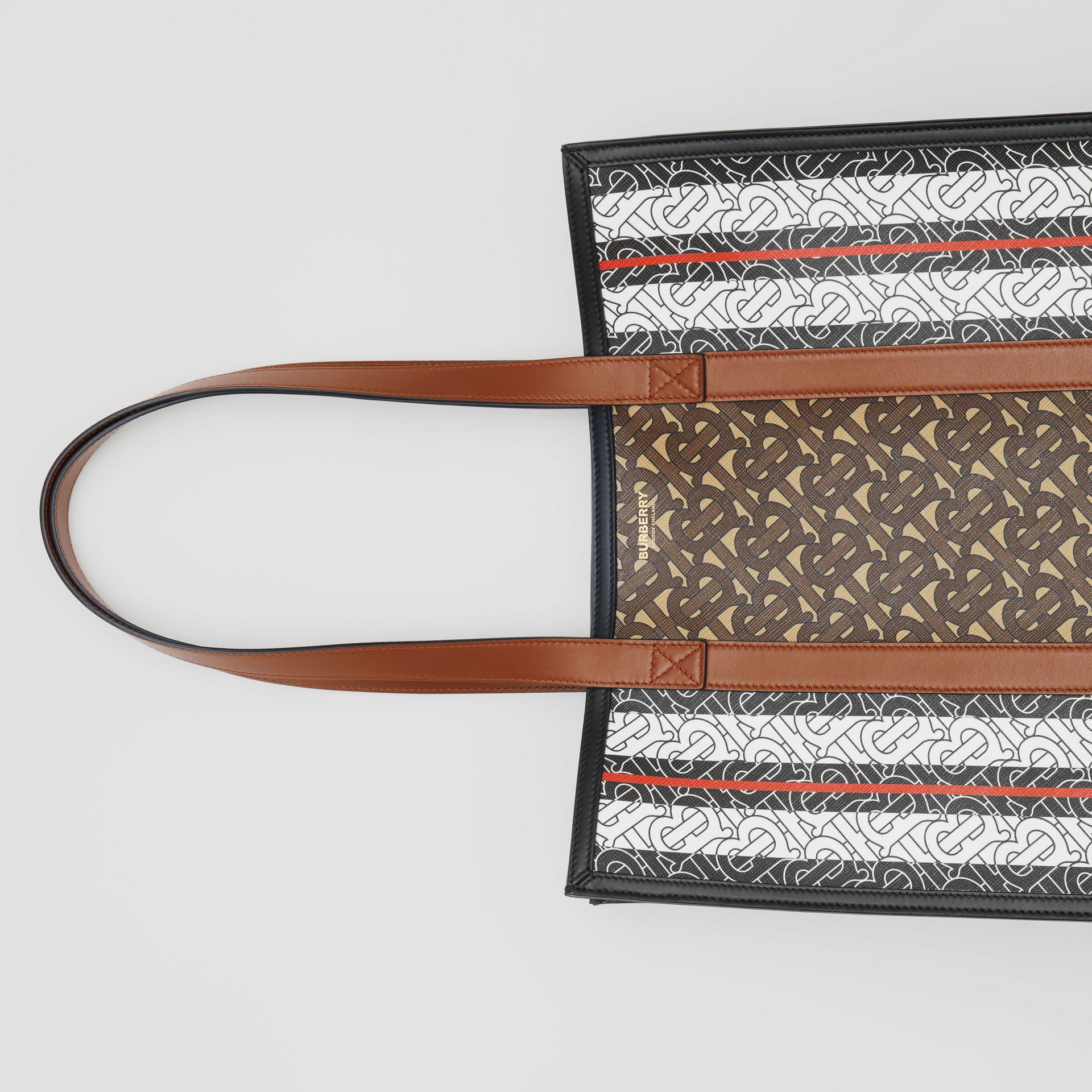 Monogram Stripe E-canvas Portrait Tote Bag in Bridle Brown - Women | Burberry - gallery image 11