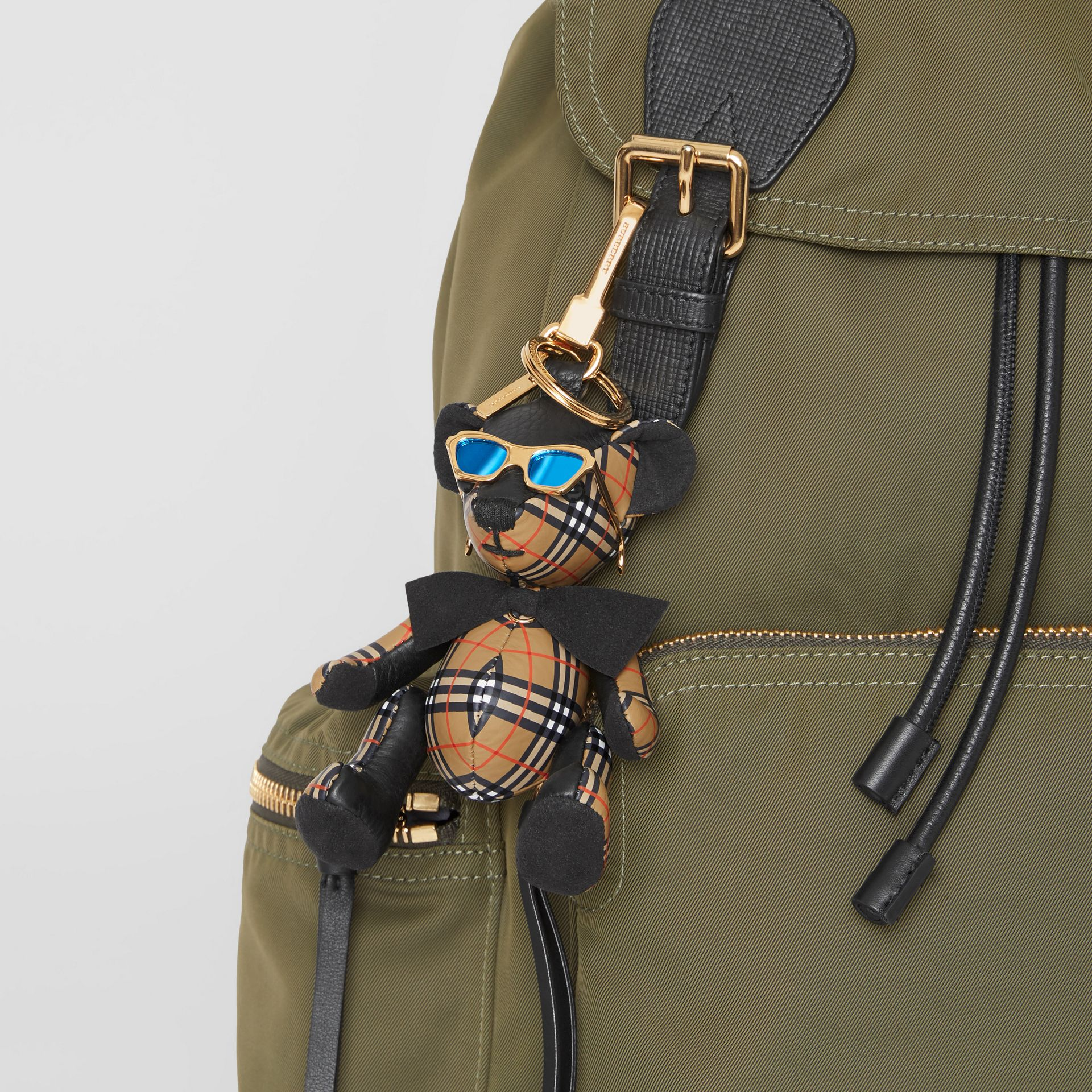 Thomas Bear Charm in Sunglasses in Black/antique Yellow | Burberry - gallery image 4