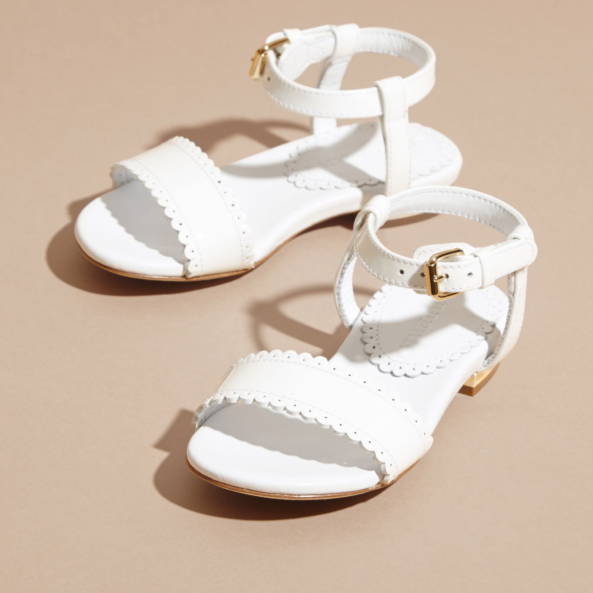 Scallop Trim Leather Sandals - gallery image 3