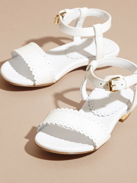 Scallop Trim Leather Sandals - cell image 2