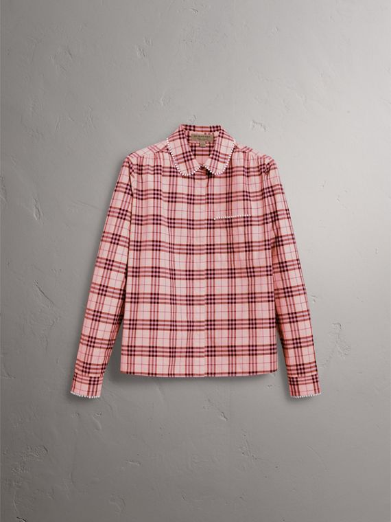 Stitched Beadwork Detail Check Cotton Shirt in Pink Azalea - Women | Burberry - cell image 3