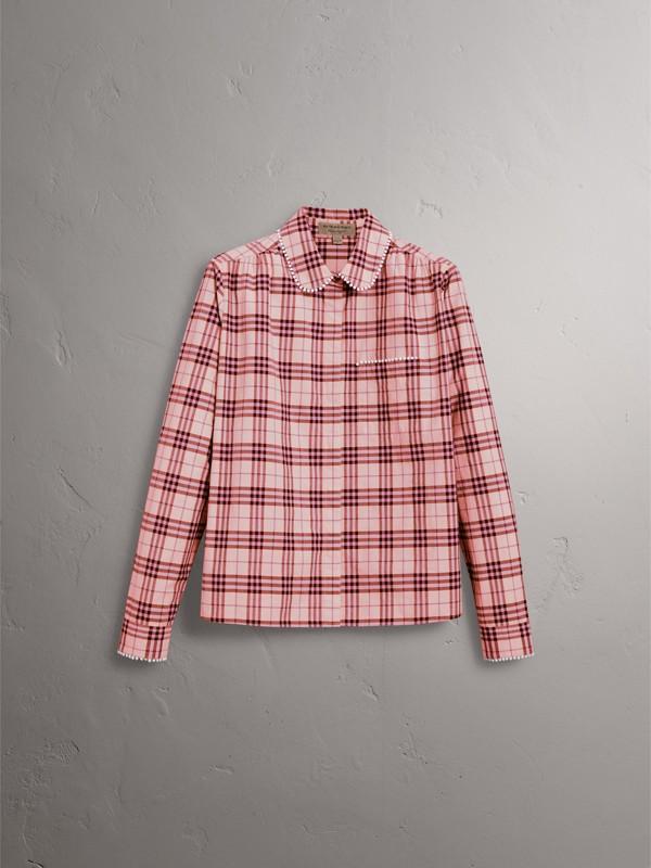 Camicia in cotone con motivo tartan e perline (Rosa Azalea) - Donna | Burberry - cell image 3